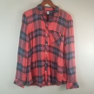 Gap Drapey flannel shirt Large Tall women Orange